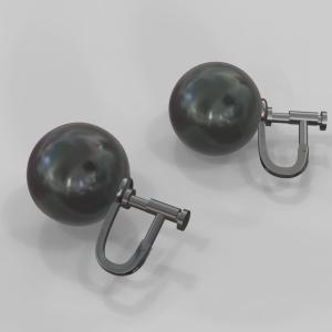 黒真珠イヤリング加工
