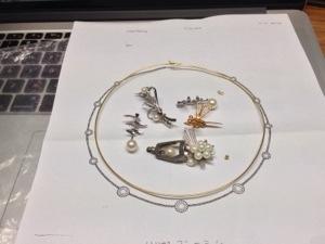 真珠のステーションネックへのリフォーム